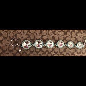 Ann Taylor Big Rhinestone Disk Aqua Bracelet